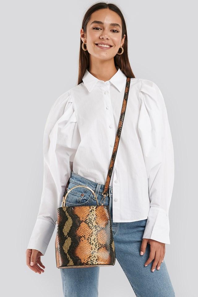 Metal Handle Bucket Bag Snake