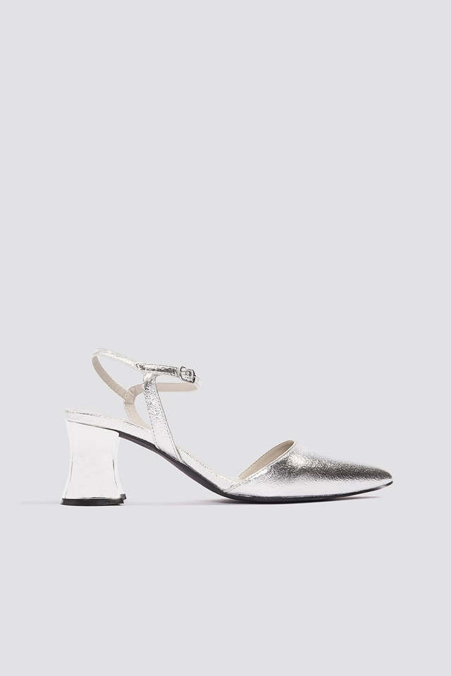 Metallic Heel Pointy Pumps NA-KD Shoes