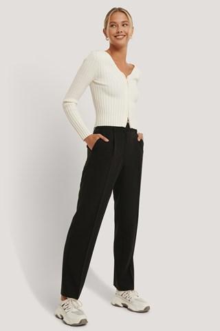 Black Mid Rise Suit Pants