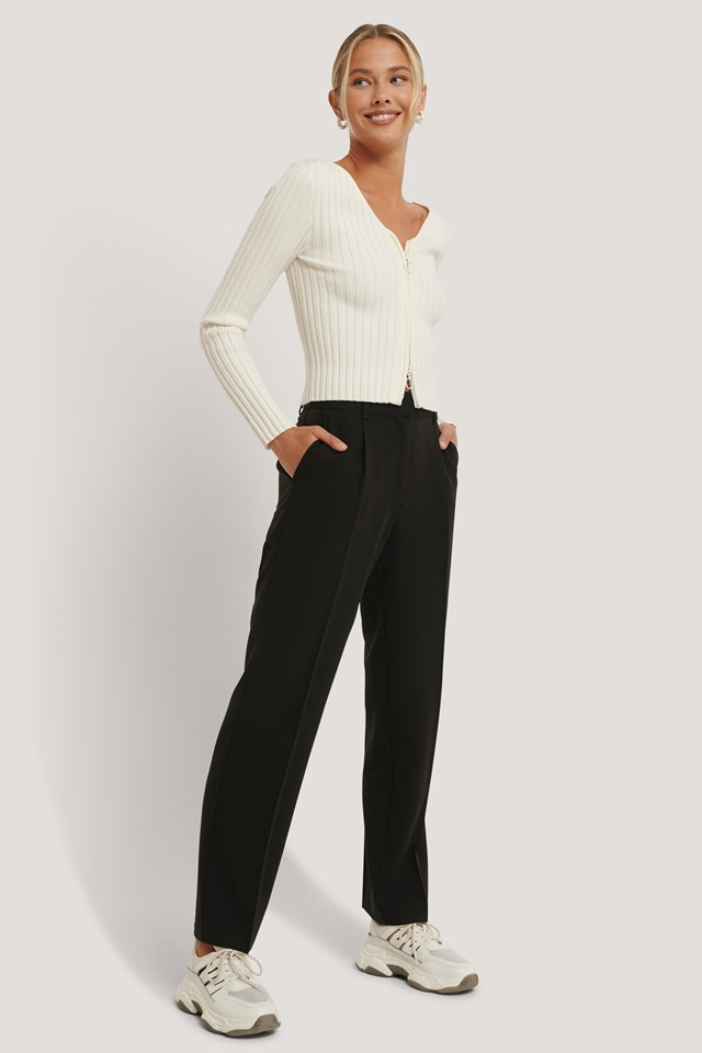 Mid Rise Suit Pants Black
