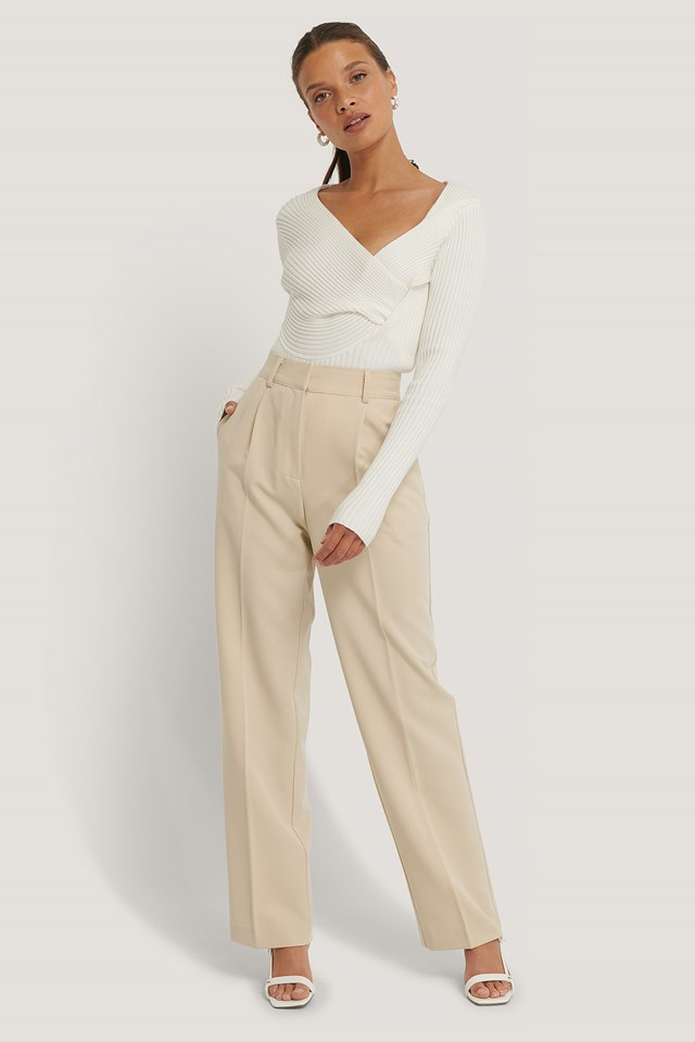 Mid Rise Suit Pants Beige