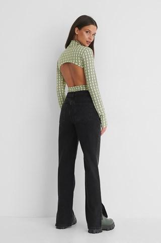 Washed Black Organic Mid Waist Slit Jeans