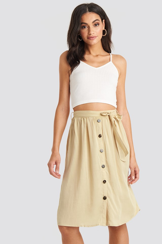 Midi Button Front Skirt NA-KD Boho