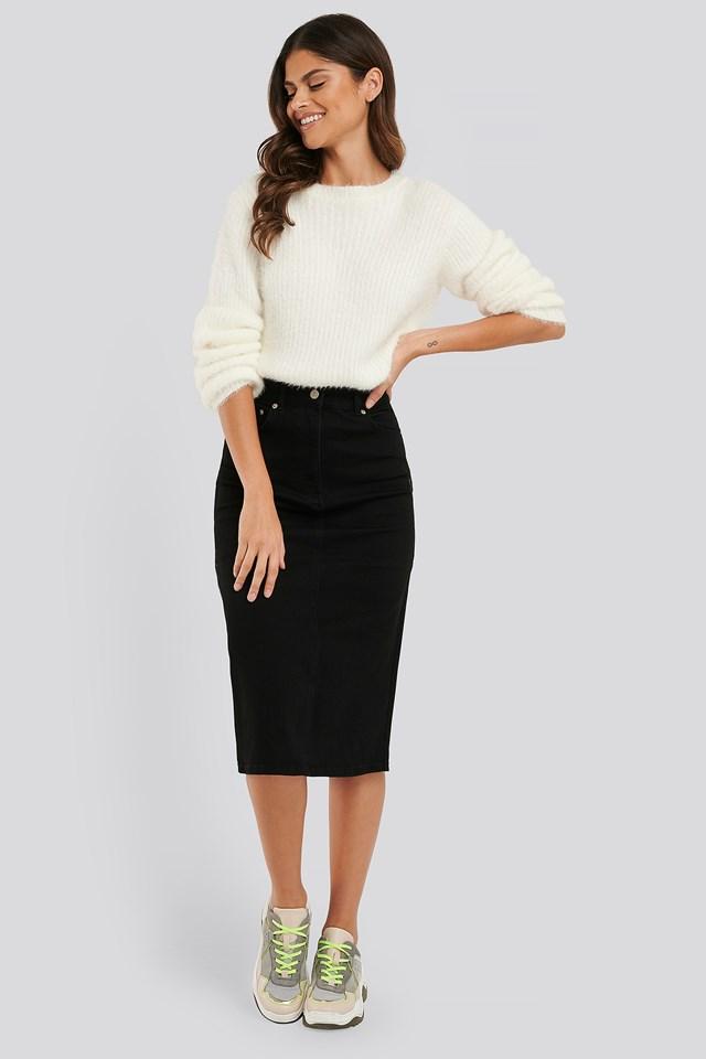Recycled Midi Denim Skirt Black