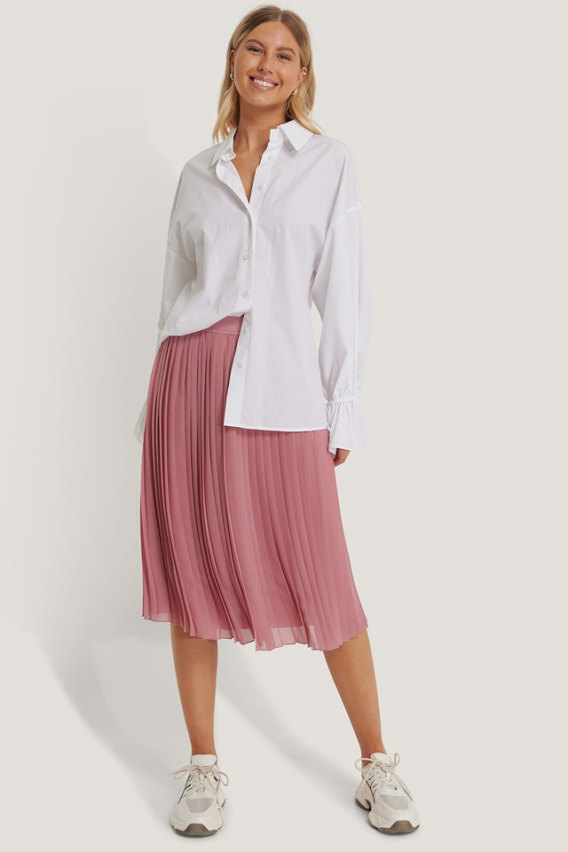 Midi Pleated Skirt Purple Rose
