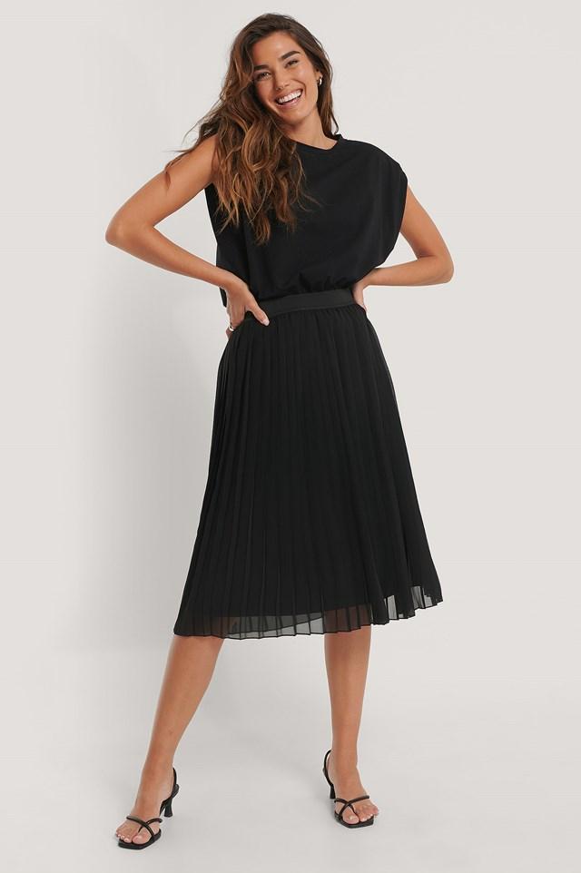 Midi Pleated Skirt Black