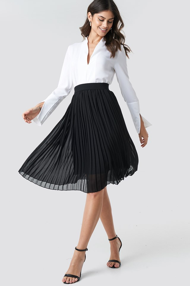 Midi Pleated Skirt Black