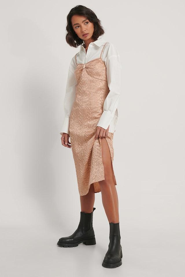Midi Satin Structured Dress Beige