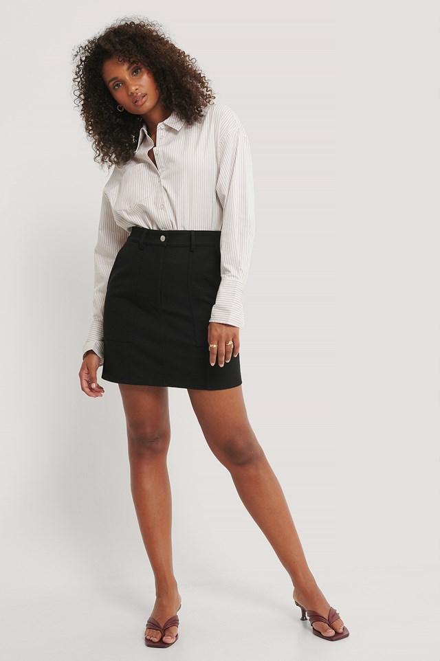 Black Mini A-line Twill Skirt