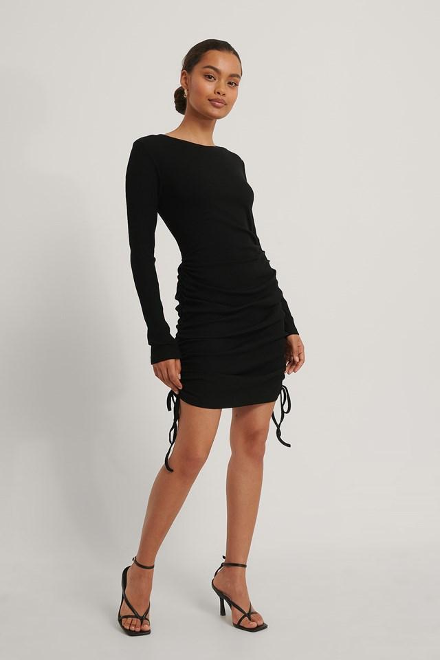 Mini Drawstring Dress Black