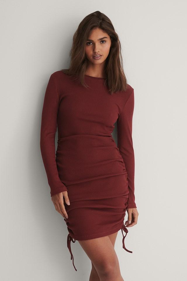 Mini Drawstring Dress Burgundy