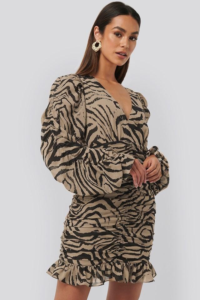 Mini Gathered Sheer Dress Zebra