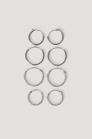 Silver Mini Hoop Earring Set