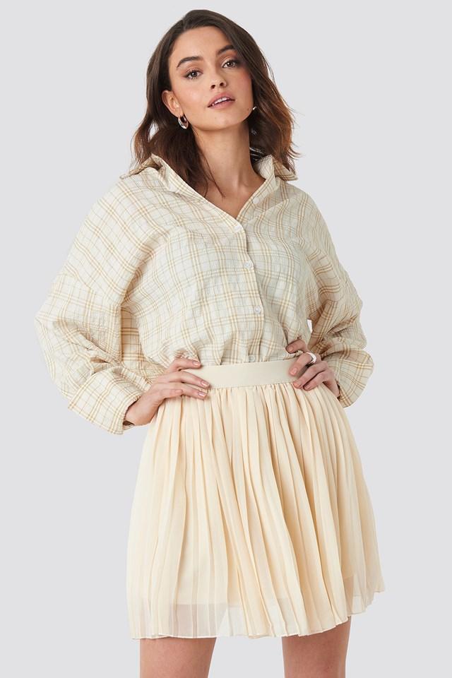 Mini Pleated Skirt Beige