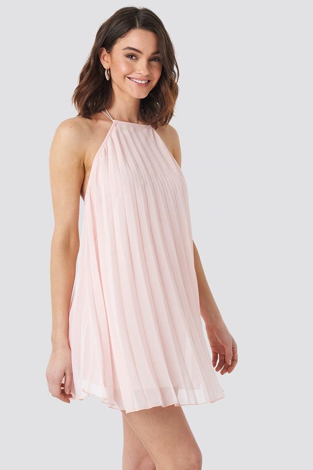 Mini Pleated Trapeze Dress Pink