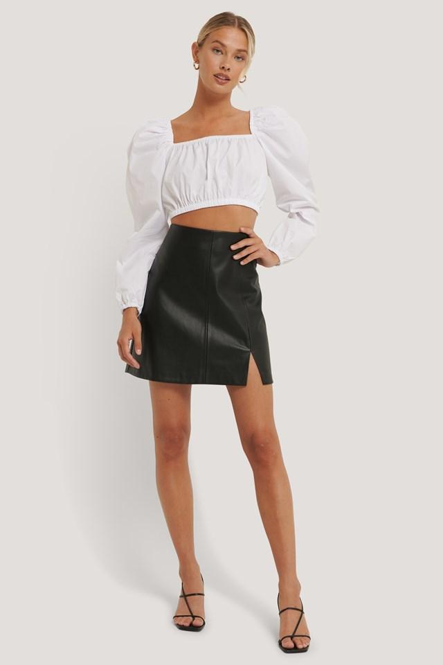 Mini Slit PU Skirt Black
