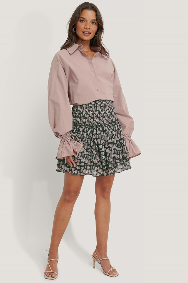 Mini Structured Smocked Skirt Pink Flower