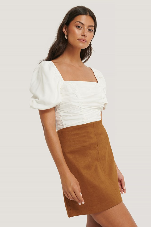 Beige Mini Suede Skirt