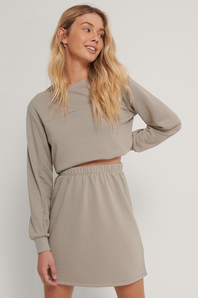 Organic Mini Sweat Skirt Grey