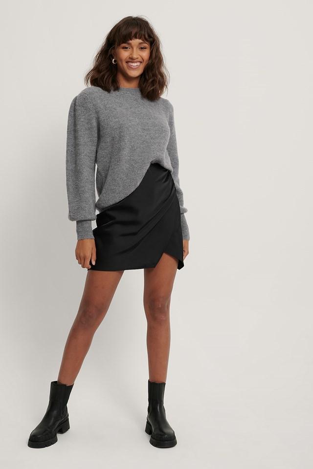 Mini Wrap Skirt Black