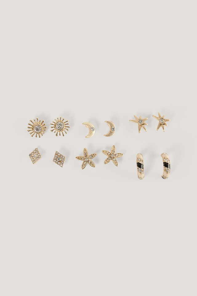 Mixed Moon and Sun Earstud Set Gold
