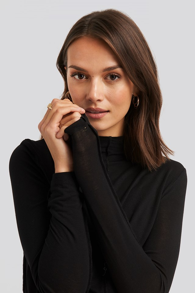 Mock Neck Exposed Seam Top NA-KD