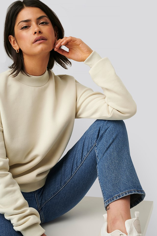 Mock Up Neck Sweater Dusty Light Beige