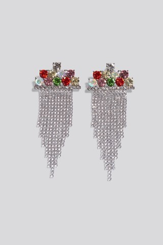 Multi Multi Color Hanging Strass Earrings
