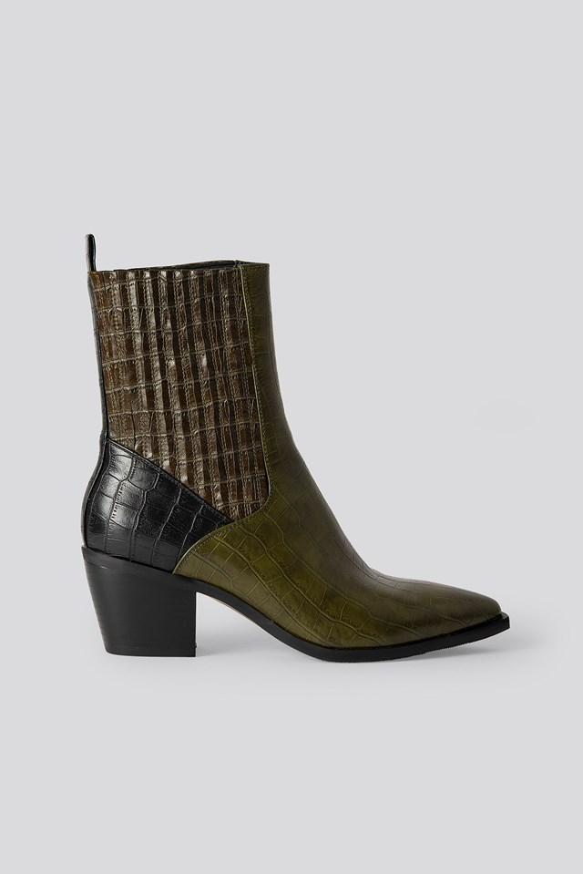 Multi Color Western Boots Green Comb