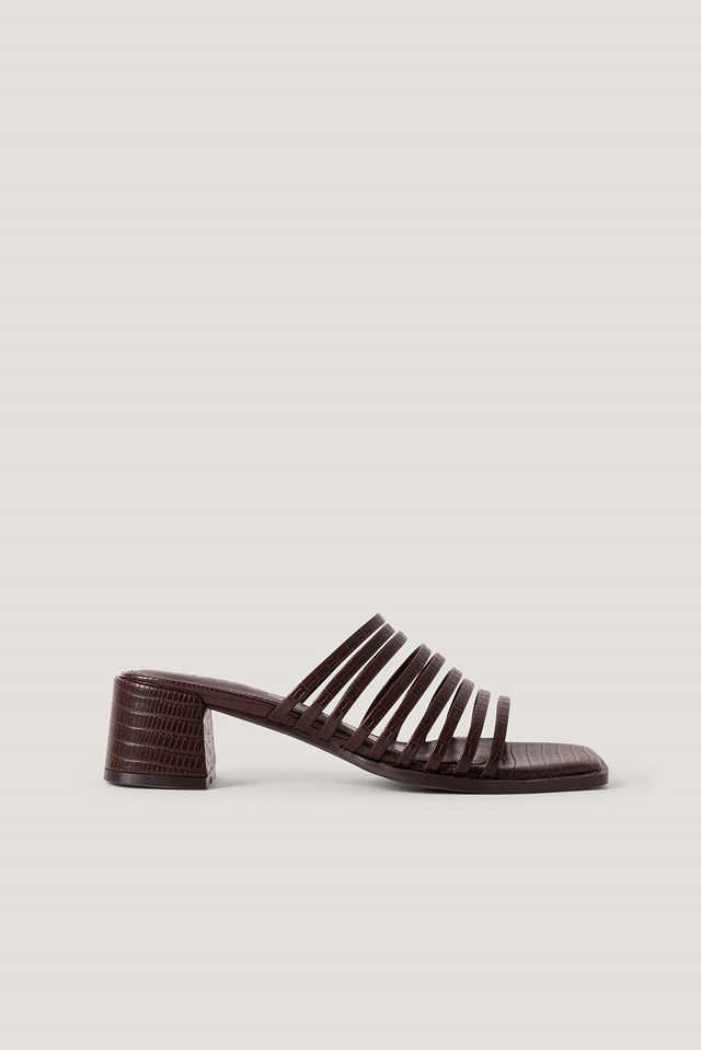 Multi Strappy Block Heel Sandals Dark Brown
