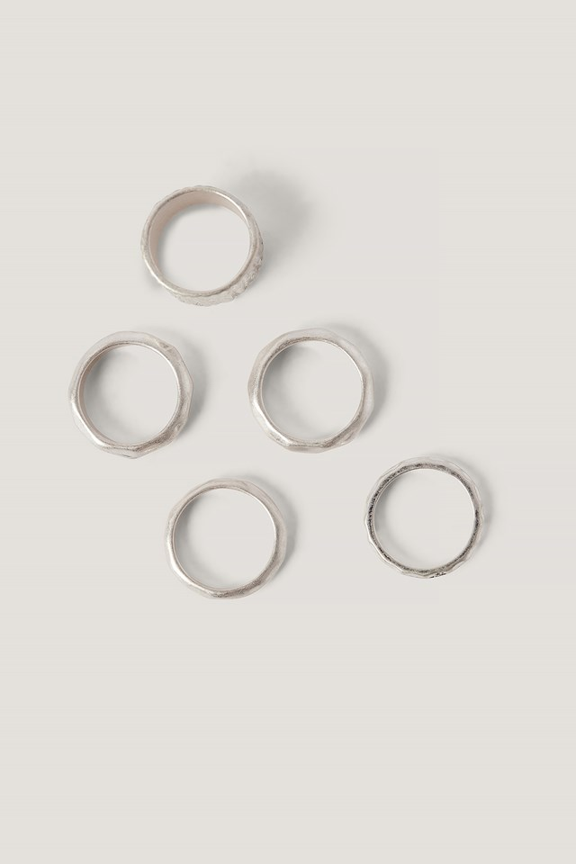 Multipack Hammered Rings NA-KD Accessories