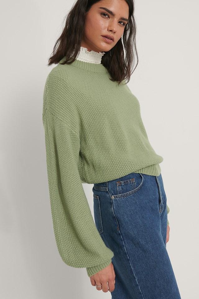 Balloon Sleeve Knitted Cropped Sweater Light Khaki