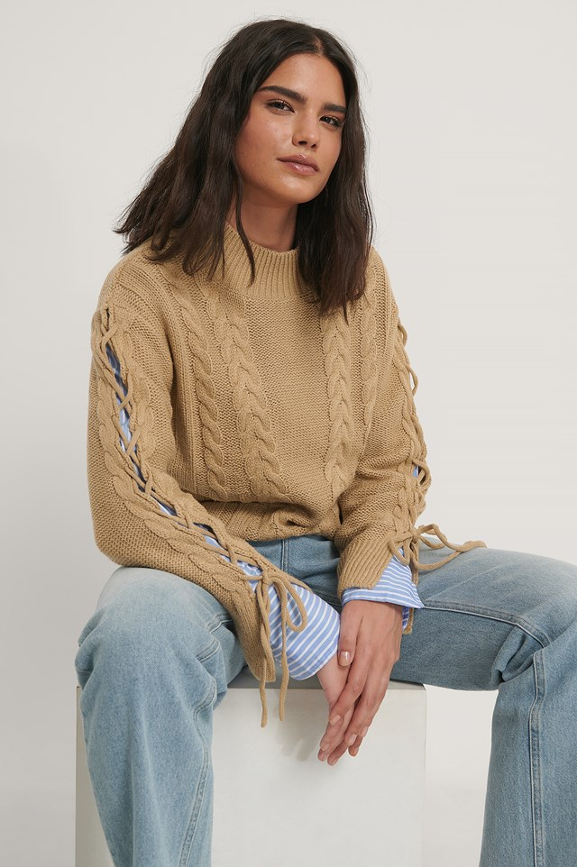 Lacing Detail Knitted Sweater Beige