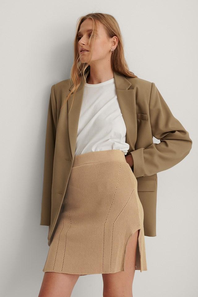 Waist Dart Detail Knitted Mini Skirt Beige
