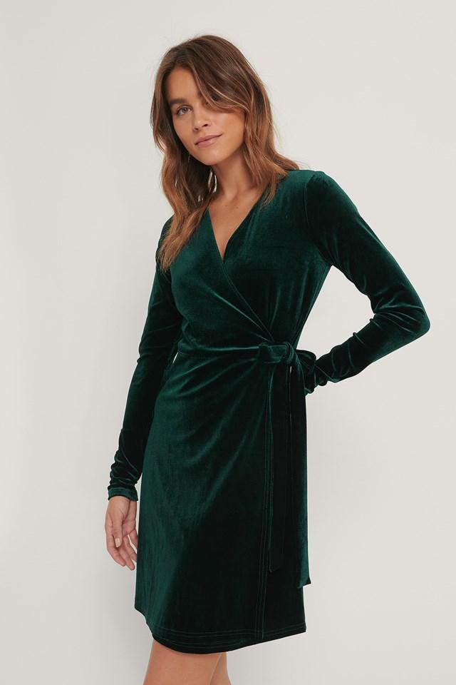 Wrap Velvet Dress Emerald Green
