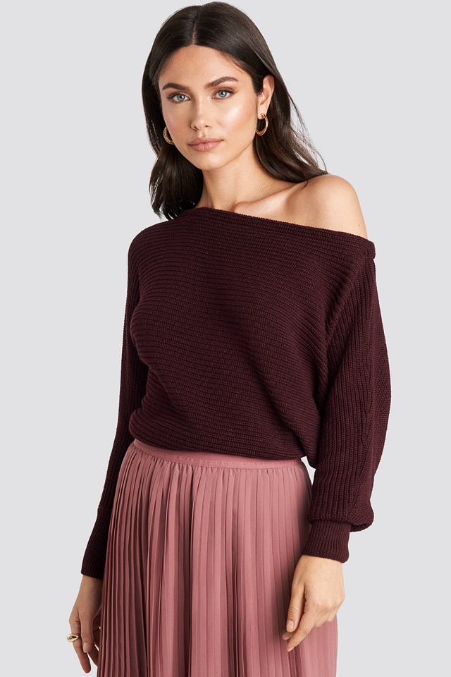 Off Shoulder Knitted Sweater NA-KD