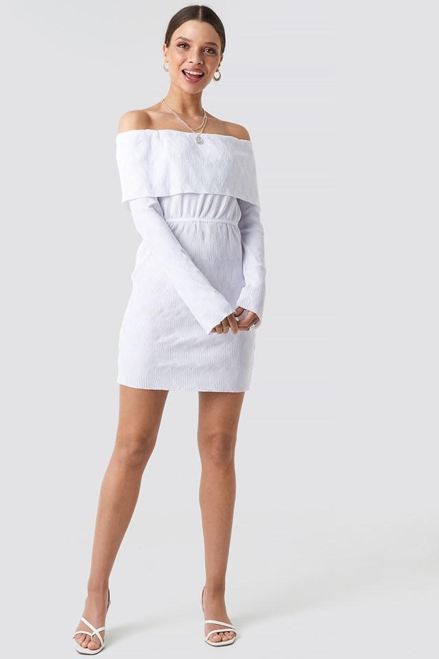 Off Shoulder Plisse Mini Dress White