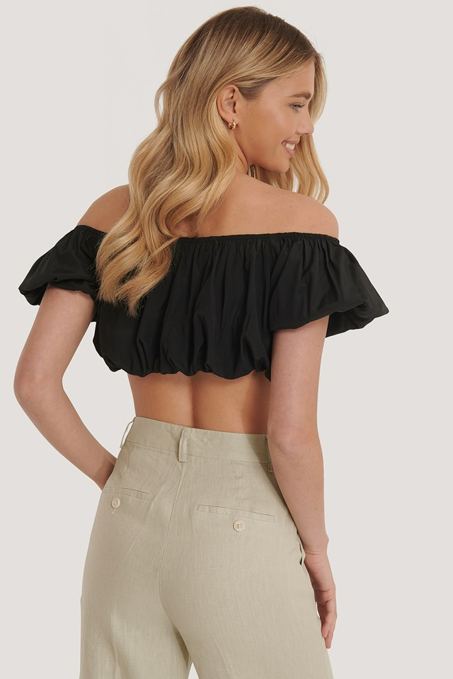 Off Shoulder Puff Top Black