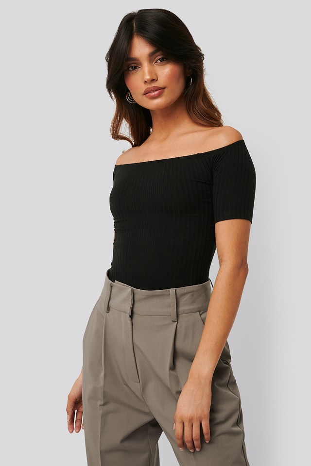 Off Shoulder Ribbed Top Black