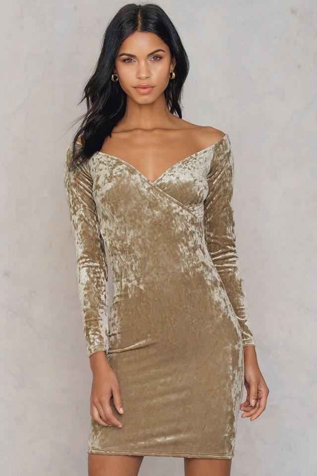 Off Shoulder Velvet Dress Beige