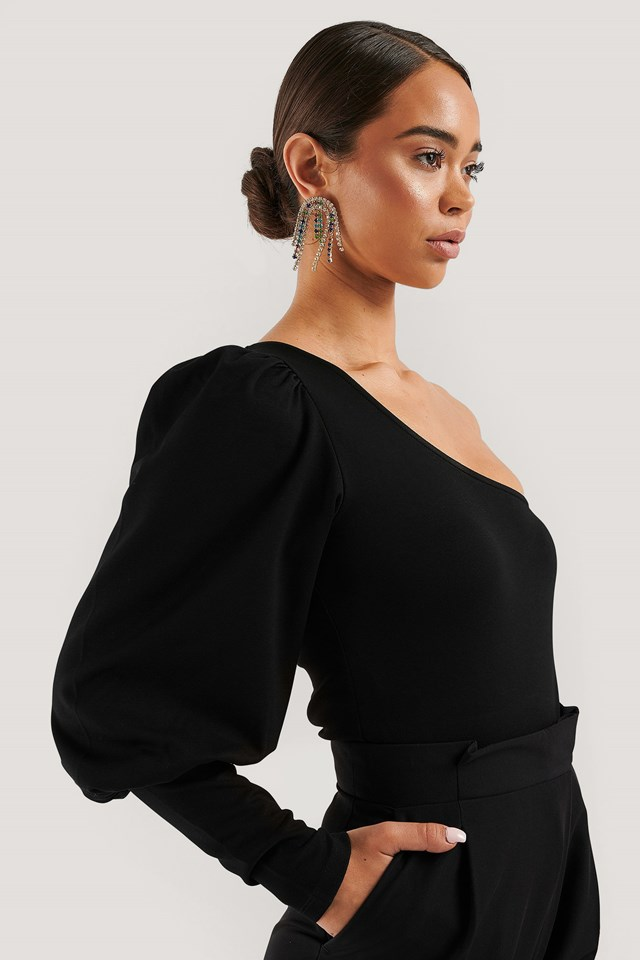 One Puff Sleeve Crop Top Black