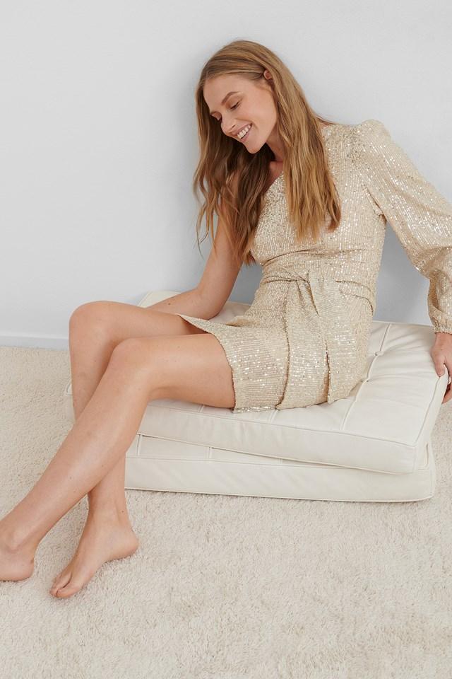 One Shoulder Belted Sequin Dress Beige