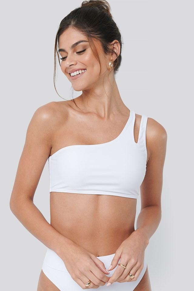 One Shoulder Cut Out Bikini Top White