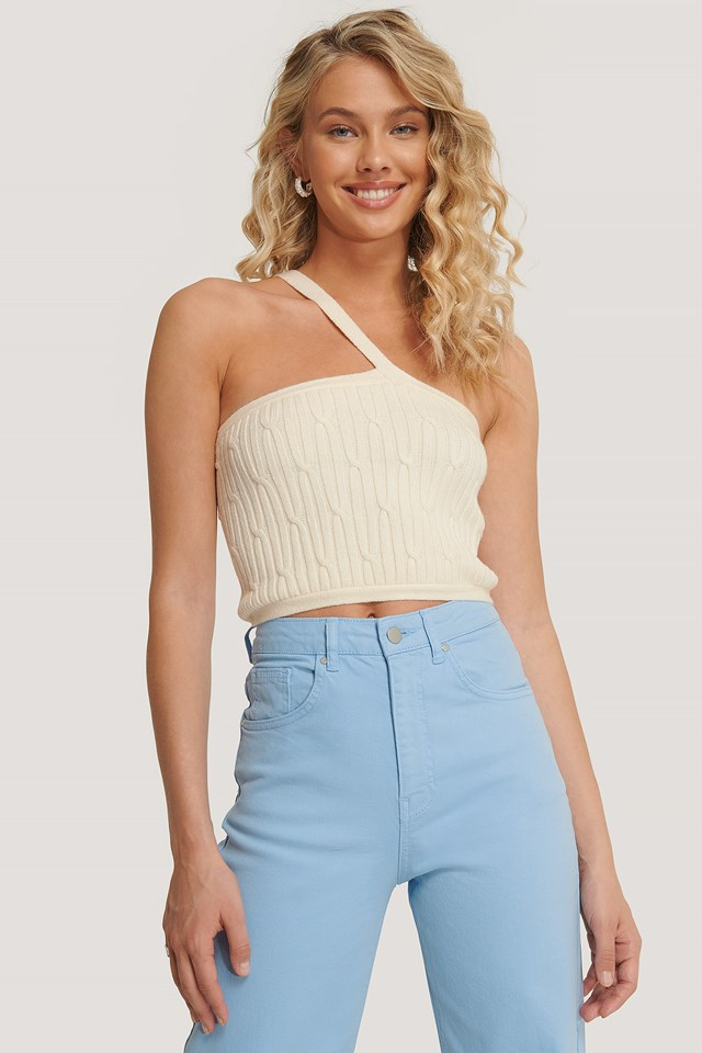 One Shoulder Knit Top Off White