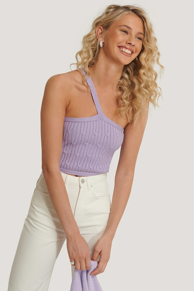 One Shoulder Knit Top Pastel Lilac