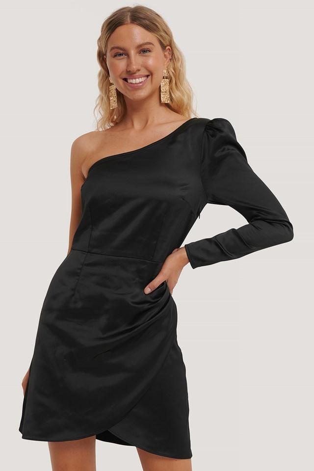 One Shoulder Satin Dress Black