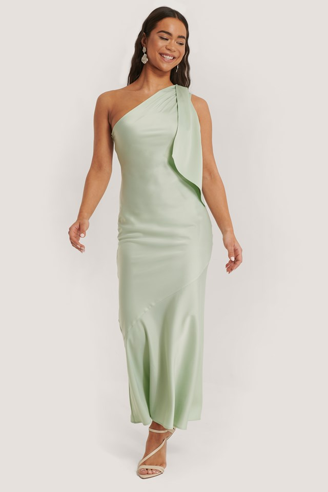 One Shoulder Satin Maxi Dress Mint