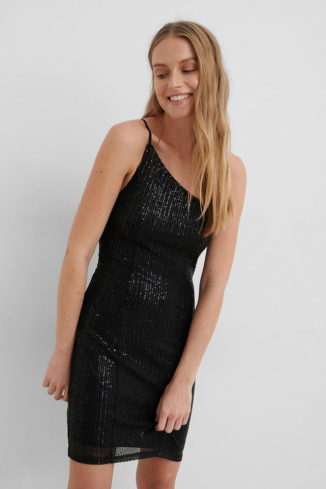 One Shoulder Sequin Dress Black