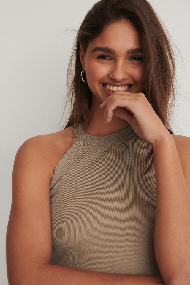 One Shoulder Solid Knitted Singlet Beige