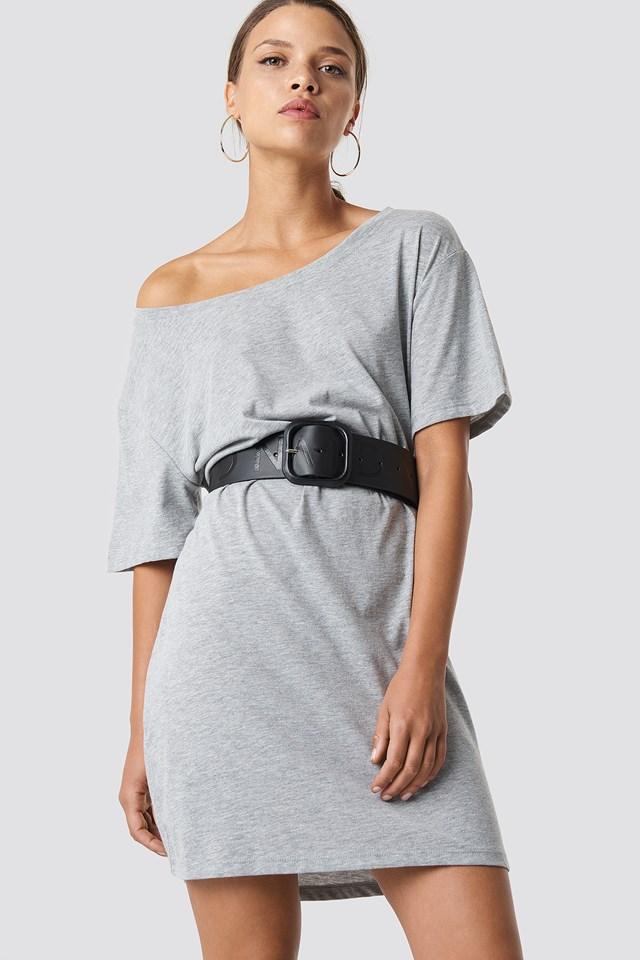 One Shoulder T-shirt Dress Grey Melange